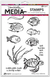 Dina Wakley Media Cling Stamps Scribbly Fishes 6inX9in