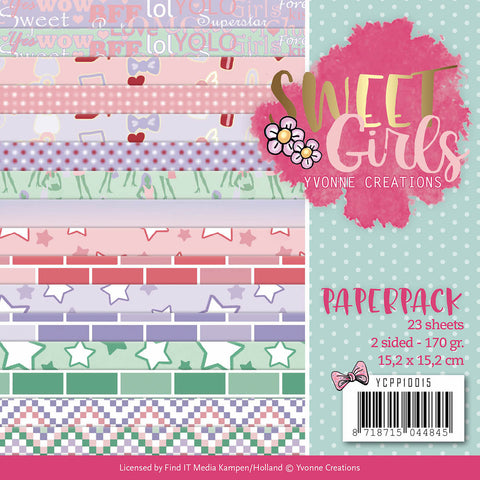 Find It Trading Yvonne Creations Paper Pack Sweet Girls 6inX6in 23pk