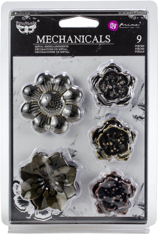 Finnabair Mechanicals Metal Embellishments Flowers 1.5in-2in 9pk