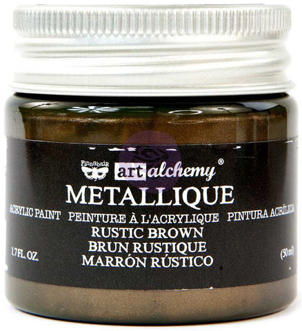 Finnabair Art Alchemy Acrylic Paint Metallique Rustic Brown 1.7fl oz