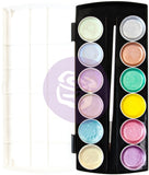 Prima Metallic Accents Semi-Watercolor Paint Set 12 Pastel Cakes and Brush