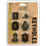 Tim Holtz IdeaOlogy Keyholes with Fasteners .75inX1in To 1inX1.5in 5pk Antique Nickel Brass and Copper