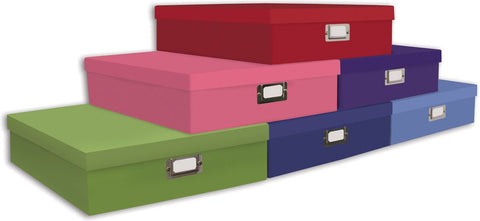 Exceptionnel Scrapbook Storage Box Assorted Solid Colors 14.75inX13inX3.75in