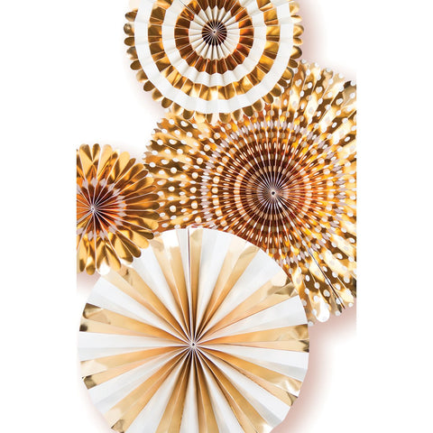 Basics Party Fans Gold Foil 4pk