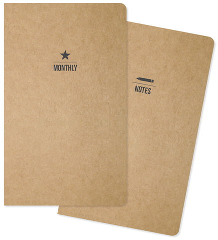 Carpe Diem Traveler's Notebook Inserts One Monthly One Lined 5inX8.25in 2pk