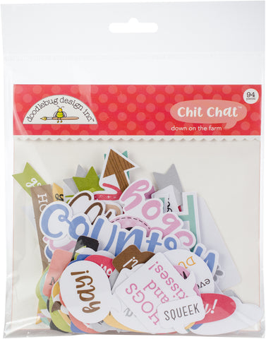Doodlebug Odds and Ends Die-Cuts Down On The Farm Chit Chat 94pk