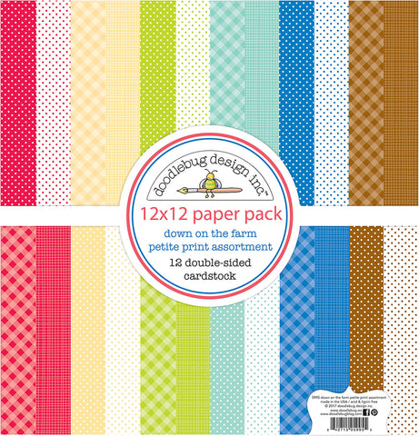 Doodlebug Petite Prints Double-Sided Cardstock Down On The Farm 12inX12in 12pk