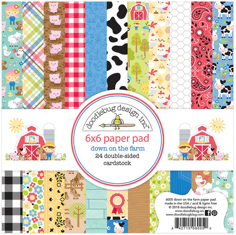 Doodlebug Double-Sided Paper Pad Down On The Farm 6inX6in 24pk