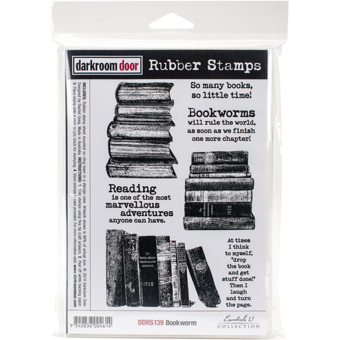 Darkroom Door Cling Stamp Bookworm 7inx5in
