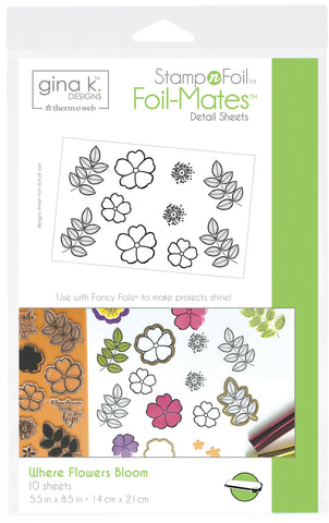 Gina K Designs StampnFoil Foil-Mates Detail Sheets Where Flowers Bloom 10pk