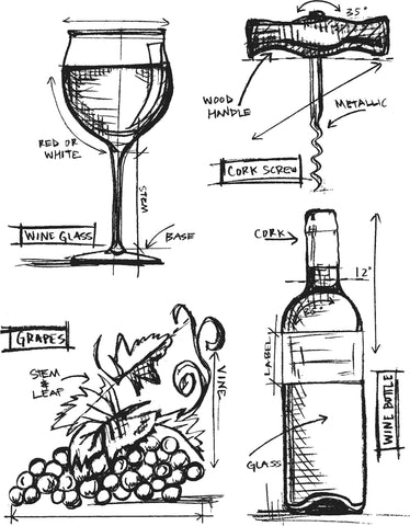 Tim Holtz Cling Stamps Wine Blueprint 7inX8.5in