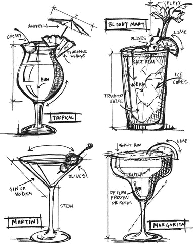 Tim Holtz Cling Stamps Cocktails Blueprint 7inX8.5in