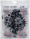 Tim Holtz Cling Stamps Glorious Bouquet with Grid Block 7inX8.5in