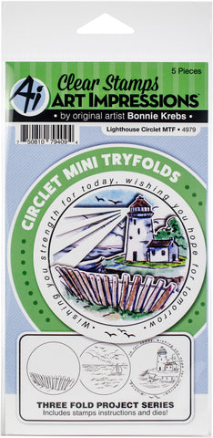 Art Impressions Circlet Mini TryFolds Stamp & Die Set Lighthouse
