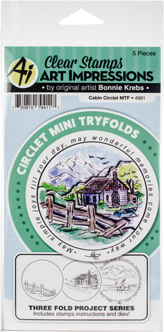 Art Impressions Circlet Mini TryFolds Stamp & Die Set Cabin