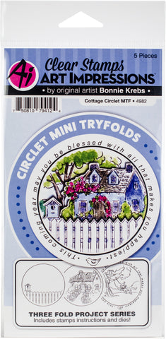 Art Impressions Circlet Mini TryFolds Stamp & Die Set Cottage