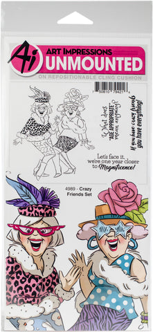 Art Impressions Girlfriends Cling Rubber Stamps  Crazy Friends