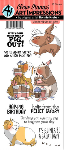 Art Impressions Funny Farm Clear Stamps Guinea Pig Out