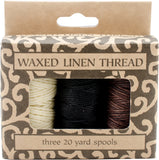 Lineco Waxed Linen 5 Ply Thread 3pk Natural, Brown, Black 20yds Each