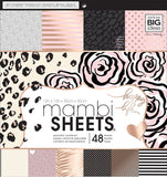Mambi Single-Sided Paper Pad Black White & Rose 12inX12in 48pk