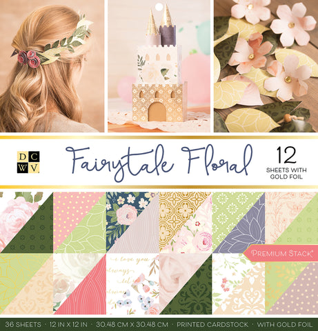 DCWV Double Sided Cardstock Stack Fairytale Floral 12inX12in 36pk