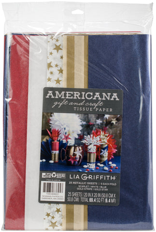 Frosted Gift and Craft Tissue Paper Americana 25pk