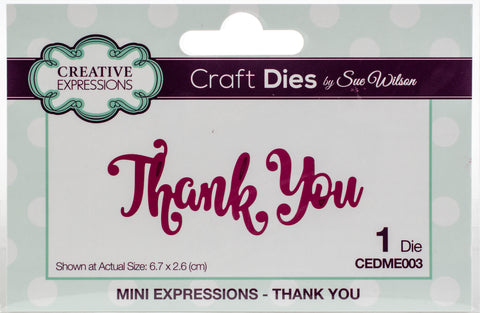 Craft Dies By Sue Wilson Mini Expressions Thank You