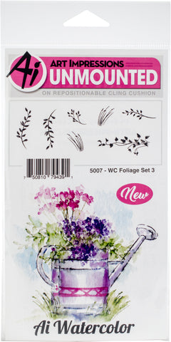 Art Impressions Watercolor Cling Rubber Stamps Foliage Set 3