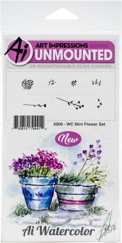 Art Impressions Watercolor Cling Rubber Stamps Mini Flower Set