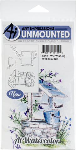 Art Impressions Watercolor Cling Rubber Stamps Wishing Well Mini Set