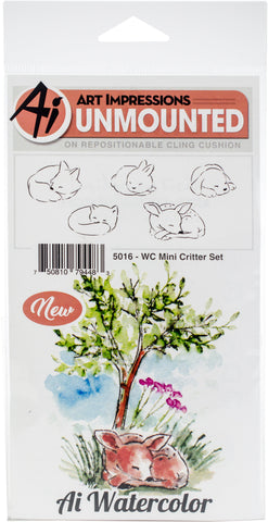 Art Impressions Watercolor Cling Rubber Stamps Mini Critter Set