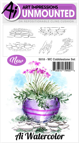 Art Impressions Watercolor Cling Rubber Stamps Cobblestone