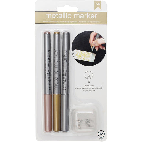 Metallic Markers Fine Point Rose Gold Gold and Silver 3pk