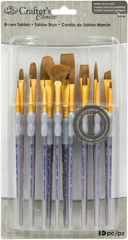 Crafter's Choice Brown Taklon Brush Value Set 15pk