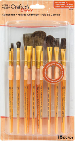 Crafter's Choice Natural Hair Brush Value Set 15pk