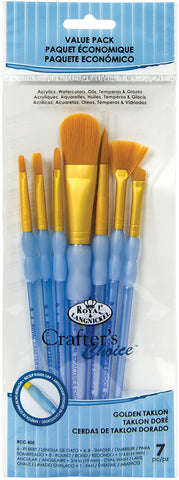 Crafter's Choice Gold Taklon Oval Brush Variety Set 7pk