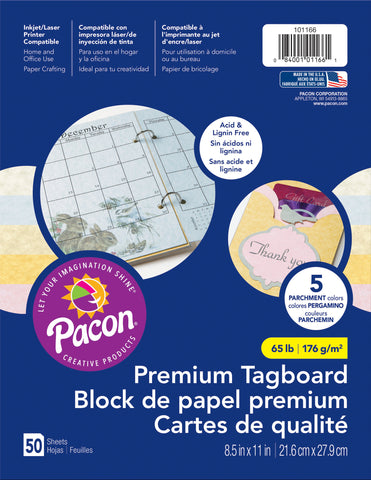 Pacon Premium Tagboard Paper Parchment Assorted Colors 8.5inX11in 50pk