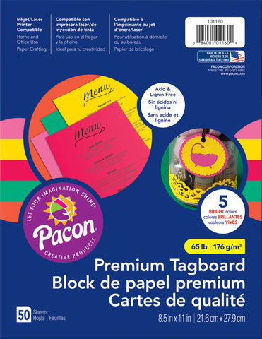 Pacon Premium Tagboard Paper Brights Assorted Colors 8.5inX11in 50pk