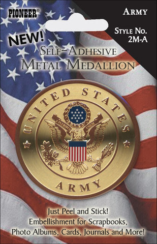 Military Self Adhesive Metal Medallion Army 2in