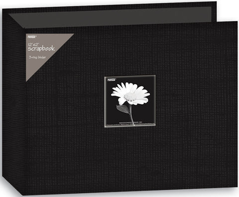 Fabric D-Ring Binder Album with Window Black 12inx12in