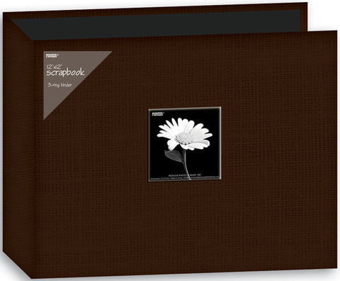 Fabric D-Ring Binder Album with Window Brown 12inx12in