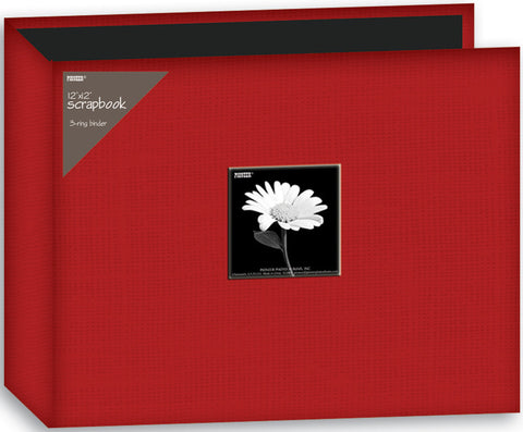 Fabric D-Ring Binder Album with Window Red 12inx12in