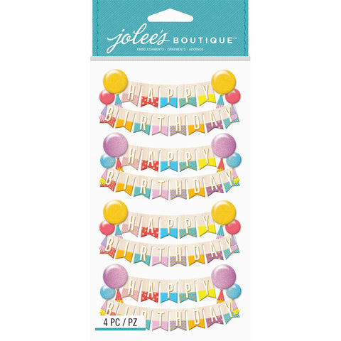 Jolee's Boutique Dimensional Stickers Happy Birthday Banners