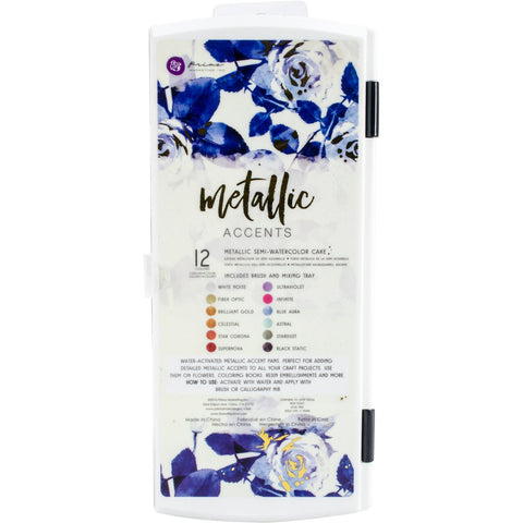 Prima Marketing Metallic Accents Semi Watercolor Paint Set 12 Cakes and Brush