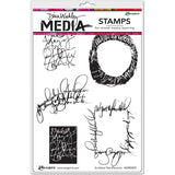 Dina Wakley Media Cling Stamps - Scribbled Text Elements