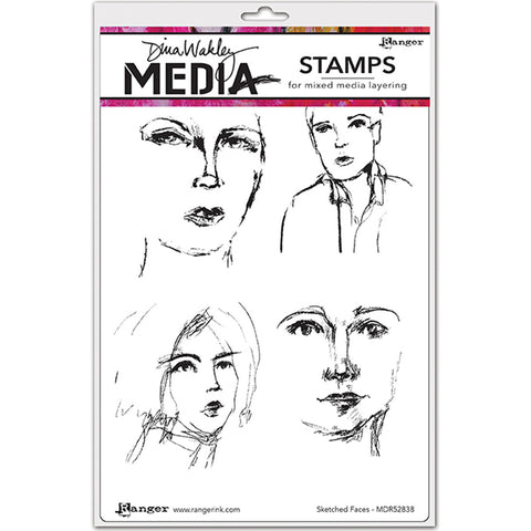 Dina Wakley Media Cling Stamps Sketched Faces