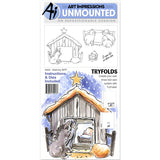 Art Impressions Mini Tryfolds Cling Rubber Stamps Nativity 10inx4.5in