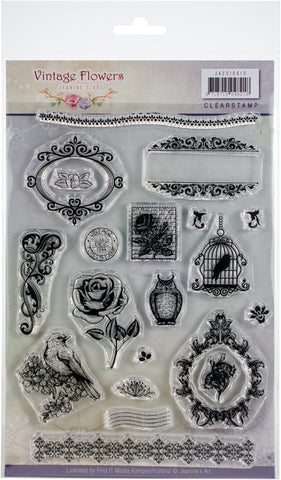 Find It Trading Jeanine's Art Clear Stamps Vintage Flowers