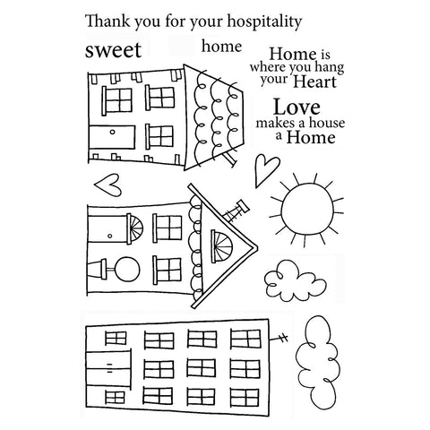 Jane's Doodles Clear Stamps Home Sweet Home 4inx6in