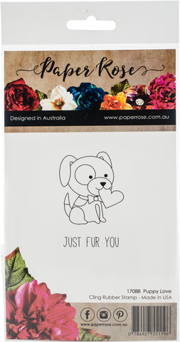 Paper Rose Cling Stamps Puppy Love